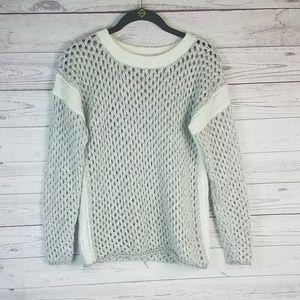 Sundance Cream Metallic Gold Open Knit Sweater